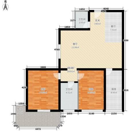明德雅园大厦2室1厅2卫1厨115.00㎡户型图