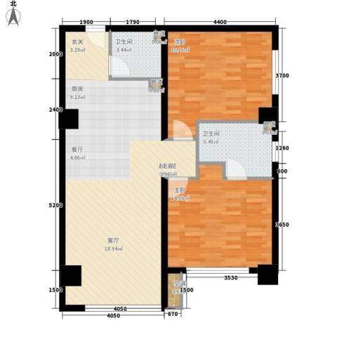 银河怡园公馆2室0厅2卫0厨110.00㎡户型图