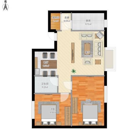 天朗国际广场2室1厅1卫1厨82.00㎡户型图