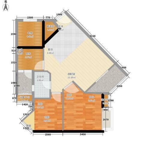时代玫瑰园2室0厅1卫1厨70.00㎡户型图