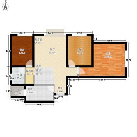 龙天名俊3室0厅1卫1厨88.00㎡户型图