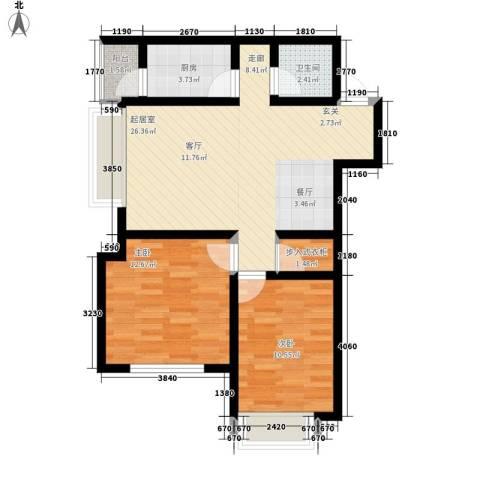 龙天名俊2室0厅1卫1厨86.00㎡户型图