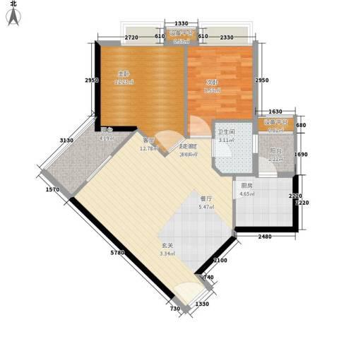 时代玫瑰园2室0厅1卫1厨88.00㎡户型图