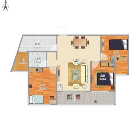 丽景华庭3室1厅1卫1厨112.00㎡户型图