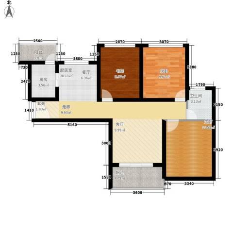 龙天名俊3室0厅1卫1厨95.00㎡户型图