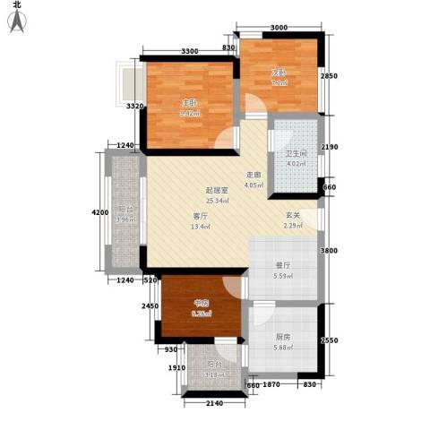 成都A区3室0厅1卫1厨83.00㎡户型图