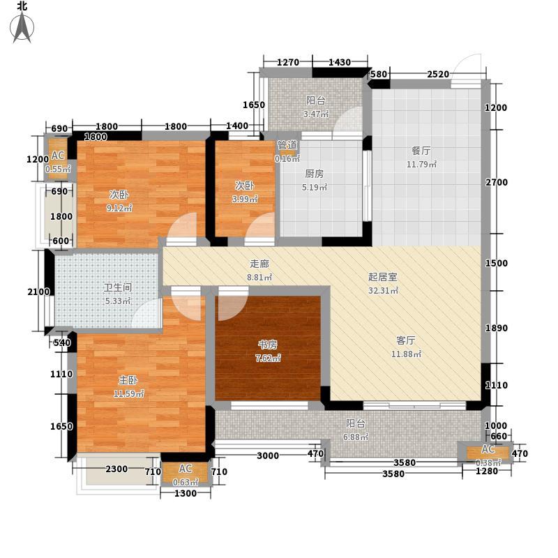 红树林91.80㎡3期4号楼A面积9180m户型