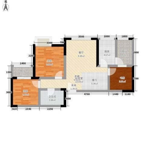 成都A区3室0厅1卫1厨84.00㎡户型图