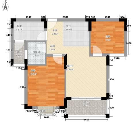 丰源美佳别墅2室1厅1卫1厨80.00㎡户型图