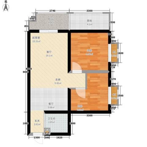 华清园小区2室0厅1卫1厨80.00㎡户型图
