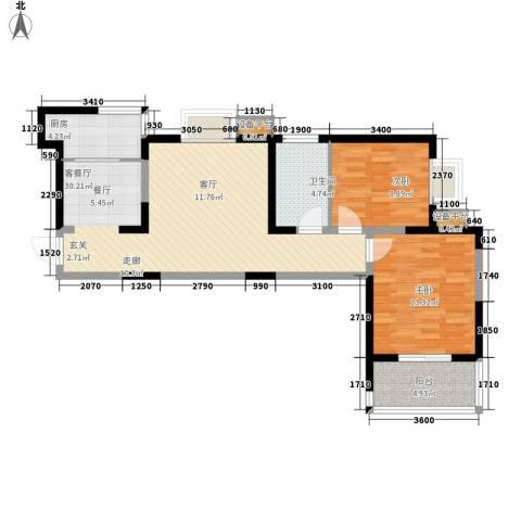 领先尊域2室1厅1卫1厨95.00㎡户型图