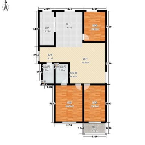 吉庆大厦3室0厅2卫1厨143.00㎡户型图