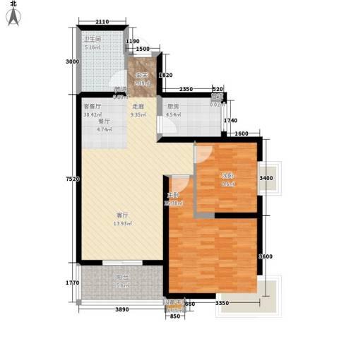 领先尊域2室1厅1卫1厨96.00㎡户型图
