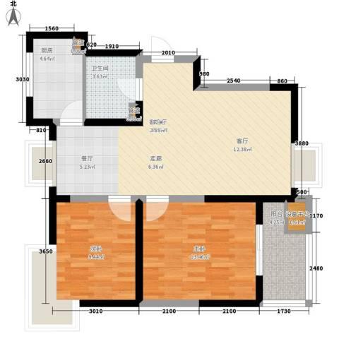 领先尊域2室1厅1卫1厨93.00㎡户型图