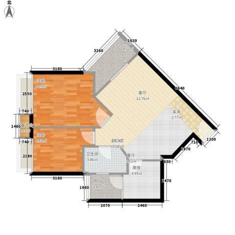 时代玫瑰园2室0厅1卫1厨90.00㎡户型图