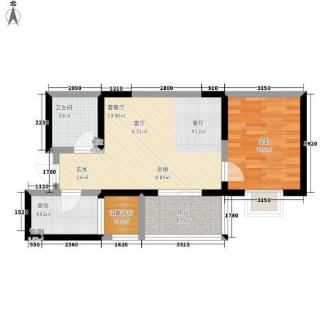 领先尊域1室1厅1卫1厨62.00㎡户型图