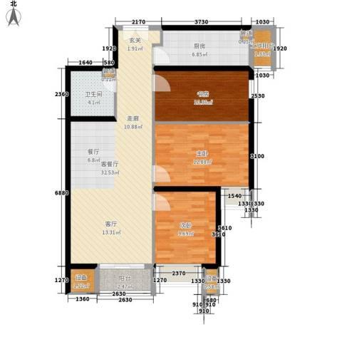 中城大厦3室1厅1卫1厨203.00㎡户型图