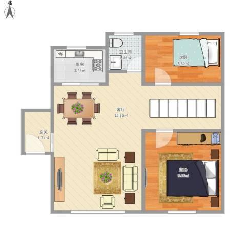 春晖花园2室1厅1卫1厨62.00㎡户型图