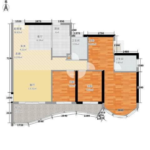 嘉仕花园尚海轩3室0厅2卫1厨151.00㎡户型图