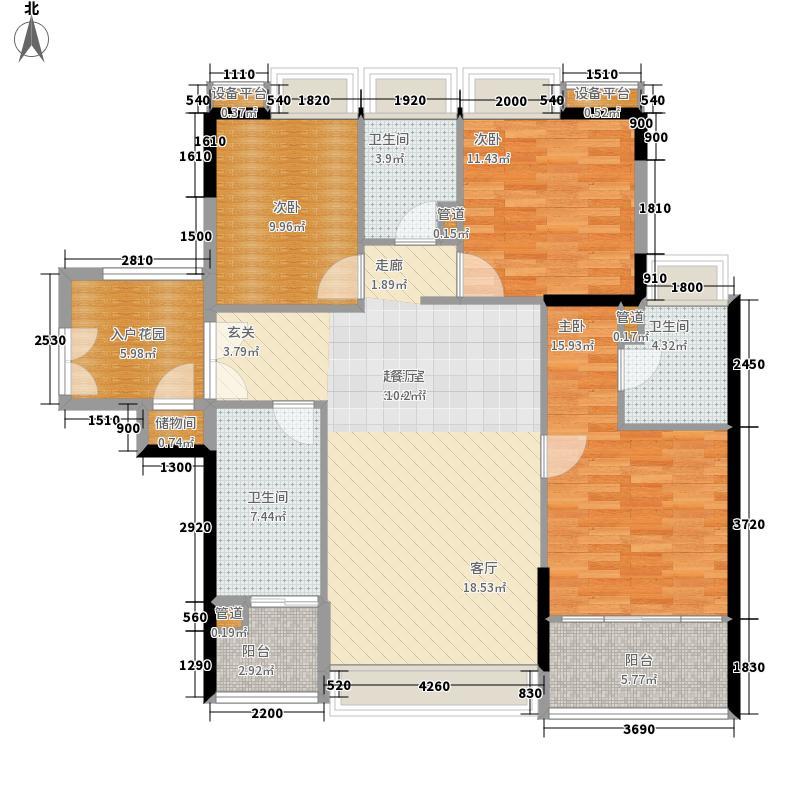 时代玫瑰园117.37㎡面积11737m户型