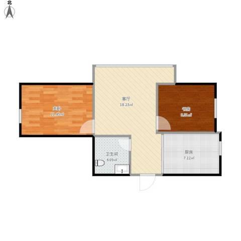 宝地・福湾2室1厅1卫1厨67.00㎡户型图