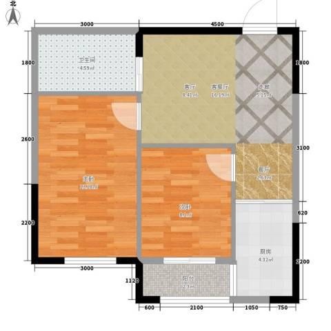 中泽城2室1厅1卫1厨68.00㎡户型图