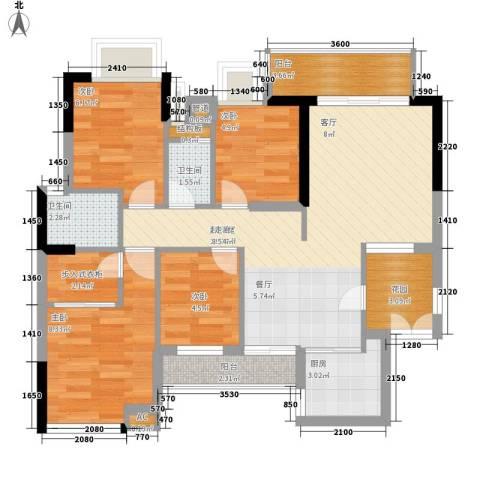 云山居4室0厅2卫1厨76.00㎡户型图