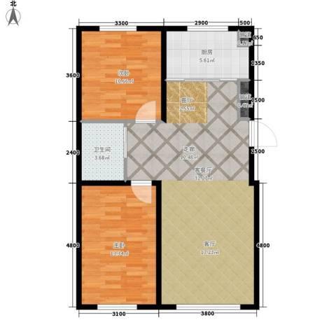 中泽城2室1厅1卫1厨95.00㎡户型图