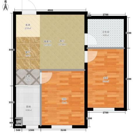 中泽城2室1厅1卫1厨72.00㎡户型图
