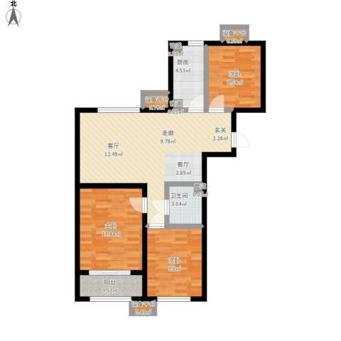 中国铁建・环保嘉苑3室1厅1卫1厨107.00㎡户型图
