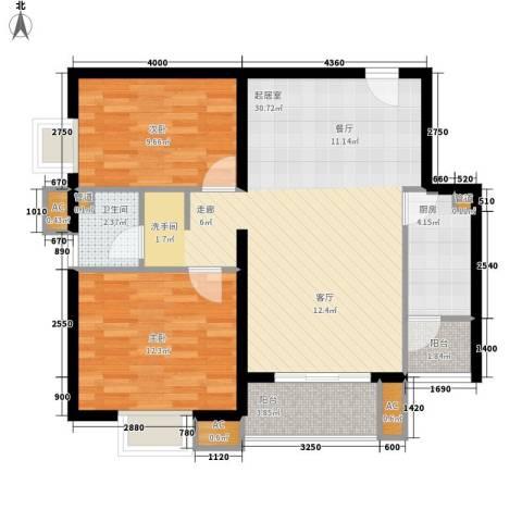 绿竹园小区2室0厅1卫1厨66.73㎡户型图