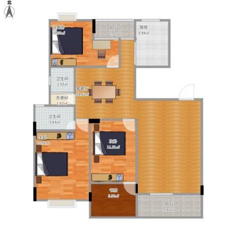 西子山庄4室1厅2卫1厨140.00㎡户型图