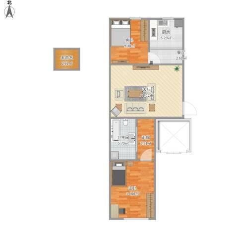 宏业枫华2室2厅1卫1厨88.00㎡户型图