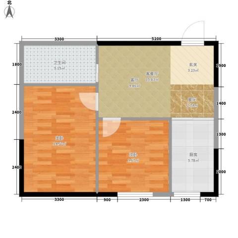 中泽城2室1厅1卫1厨70.00㎡户型图