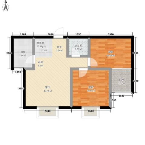 凯嘉时代华城2室0厅1卫1厨69.00㎡户型图