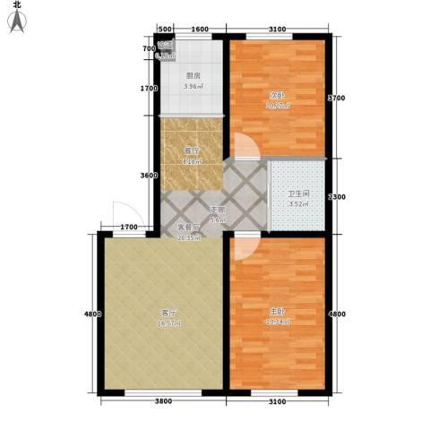 中泽城2室1厅1卫1厨84.00㎡户型图