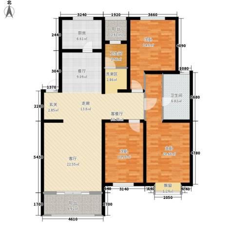 左岸公园3室1厅2卫1厨142.00㎡户型图