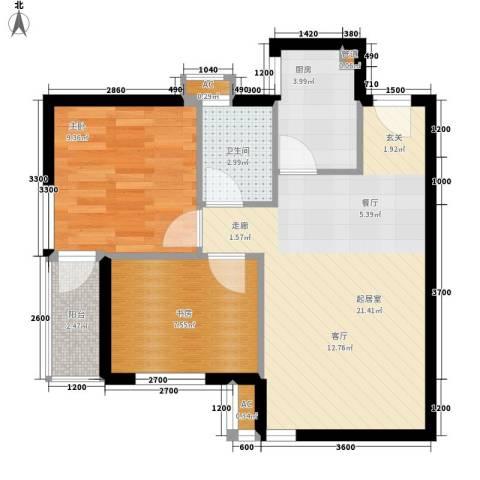 城南翡翠2室0厅1卫1厨69.00㎡户型图