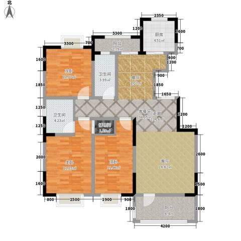 中泽城3室1厅2卫1厨125.00㎡户型图