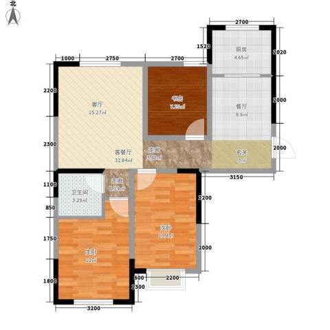 中泽城3室1厅1卫1厨100.00㎡户型图