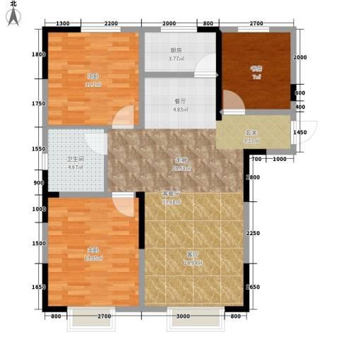 中泽城3室1厅1卫1厨109.00㎡户型图