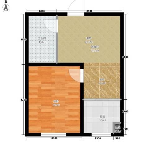 中泽城1室1厅1卫1厨54.00㎡户型图