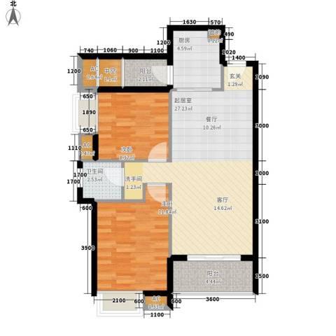 城南翡翠2室0厅1卫1厨92.00㎡户型图