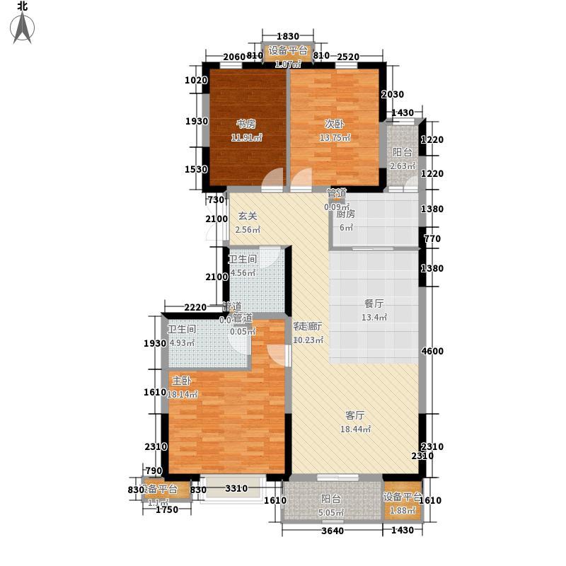 和平时光1、2号楼标准层A3反平面图户型