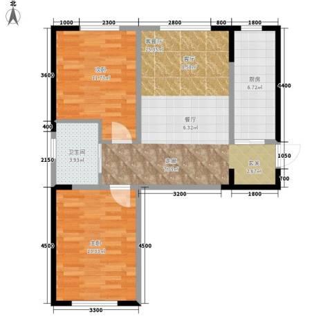 中泽城2室1厅1卫1厨85.00㎡户型图