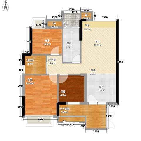 绿竹园小区3室0厅1卫1厨71.71㎡户型图