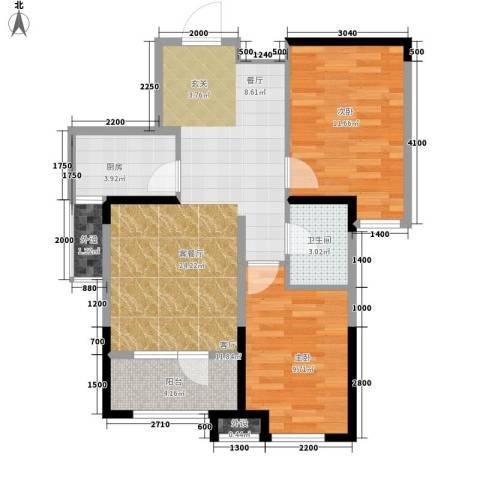 中泽城2室1厅1卫1厨83.00㎡户型图