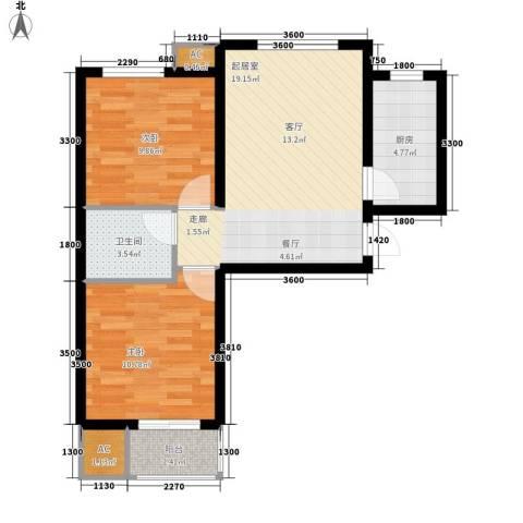 唐韵三坊2室0厅1卫1厨73.00㎡户型图