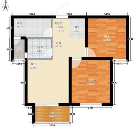 龙天名俊2室0厅1卫1厨76.00㎡户型图