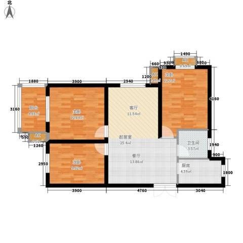 中环国际城3室0厅1卫1厨103.00㎡户型图